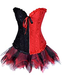 JL Red Black Boned Corset with Petticoat Tutu Sets Sexy Lingerie
