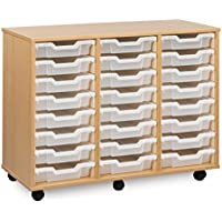 Monarch Mobile School Shallow Tray Storage Unit 24 Clear Trays Beech MEQ4W-CLEAR