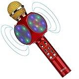 BETECK Micrófono Inalámbrico Karaoke Bluetooth Portátil con LED Luces de Colores, TF Tarjeta, 3.5mm AUX, Memoria USB, Compatible con PC/iPad/iPhone/Android Smartphone