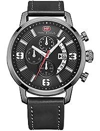 Handcuffs Mini Focus Men's Analog Wrist Watch With Black Leather Strap - Genuine Chronographs