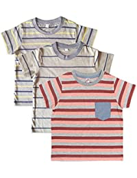 Orange and Orchid Cotton Striped Pocket Kids T-shirt Pack of 3