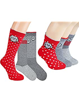 Vitasox Kinder Socken & Kniestrümpfe Baumwolle Mädchenkniestrümpfe & Mädchensocken ohne Naht Motiv 6er Pack
