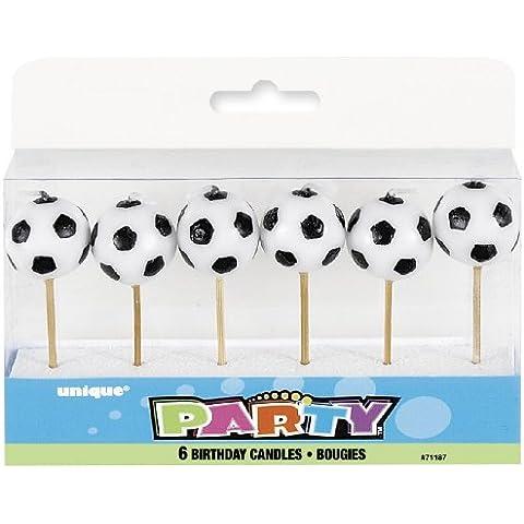 6 mini-vela * * BALOMPIÉ a los titulares de madera para las velas del partido y la torta de cumpleaños // Vela decoración de la torta del jugador de fútbol del fútbol del fútbol de la Copa Mundial de 2014 Campeonato de Europa