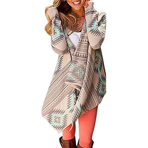 ZEARO Cardigan Jersey de Punto Mujer Estampado Irregular Stripe Mantón Chal Kimono Tops