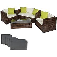 tectake poliratn aluminio conjunto tresillo muebles de ratn conjunto para jardn marrn negro