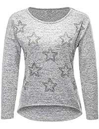 Hailys Damen Langarmshirt Longsleeve Glitter Print Pullover Pulli Feinstrick 1109b5cbb5