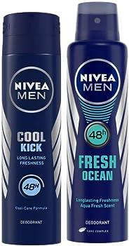 Nivea Cool Kick 48 Hour Deodorant for Men, 150ml & Nivea Men Fresh Ocean Deodorant, 150ml