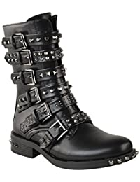 Fashion Thirsty Womens Ladies Studded Ankle Boots Buckle Western Biker Strappy Flat Shoes Size