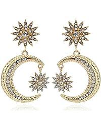 2402e1cfa097 LOJBFD Pendientes de Cristal Estrella de Cristal Luna Sol Columpios Pendientes  para Las Mujeres Regalo de