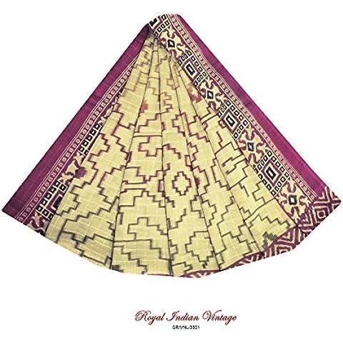 marrone annata sari astratto stampato tenda drappo indiano tessuto artigianale cucito saree utilizzato 5YD donne tessuto riciclato avvolgere abito di seta georgette di materiale artigianale sarong arte - Arte Seta Tende