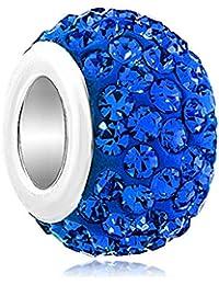 Abalorio de aro con cristales Swarovsky azules