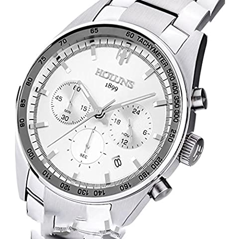 downj da uomo Quadrante Bianco In Acciaio Inox Cronografo Timer luminoso Tachymeter Quarzo Orologio Da