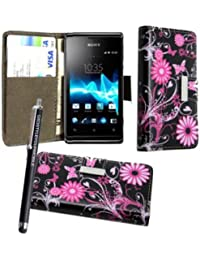 STYLEYOURMOBILE SONY XPERIA E C1505 PU LEATHER MAGNETIC FLIP CASE SKIN COVER POUCH + SCREEN PROTECTOR + STYLUS