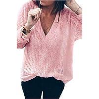 Hanomes Damen pullover, Frauen Solid Langarm V-Ausschnitt Tops Lose Pullover Bluse preisvergleich bei billige-tabletten.eu