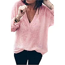Suéter Mujer,ZARLLE Moda Oferta Liquidación Mujer Collection Mujer Chaqueta de Punto Básica con Escote