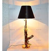 SBWYLT-Semplice moderno resina illuminazione Home Classic Golden fucile AK47 pistola lampada da tavolo lampada-750 cm * 105 cm