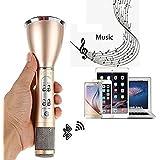 Microphone Bluetooth Sans Fil, SGODDE Commandes Dynamiques / Microphone à Condensateur Karaoke Player / Studio Kit de Système pour KTV Enseignement Spectacle Compatible avec Smartphone Android, Apple