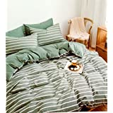 King Size Green White Stripe Double Bedsheet With 2 Pillow Cover/Stripe Print/Light Green Colonur/King Size/premiuim Quality