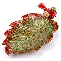 PORCN Moderne Keramik Tier Ahornblatt Obstteller Dekoration Wohnzimmer Restaurant schlüssel lagerablage kreative süßigkeiten Teller Ornament 21,4 * 13,5 * 8 cm, B