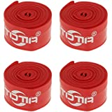 Non-brand 4 Pieces 26inch Bike Anti-Puncture Proof Belt Tyre Protector Tire Liners Red