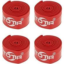 Gazechimp 4x Cinta de Neumáticos Antipinchazos para Protección Avanzada de Bicicleta Equipo Deportivo de Aire Libre de Rojo