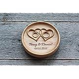 """Cuscino anelli matrimonio Cuscino Fedi Portafedi Anello Portatore Personalizzato Nomi e Data Matrimonio rustico Cuscino per anello """" Cuori intrecciati """" , """"Twisted Hearts"""""""