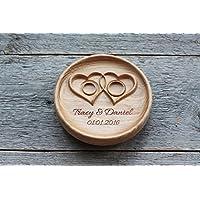 Cuscino anelli matrimonio Cuscino Fedi Portafedi Anello Portatore Personalizzato Nomi e Data Matrimonio rustico Cuscino per anello