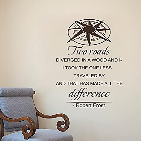 Robert Frost cita para pared carretera menos viajado–Viajes aventura de letras vinilo adhesivo para pared pared arte adhesivo, vinilo, marrón oscuro, 37.5