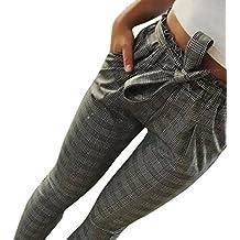 77064e65c Pantalones de harén de cintura alta para mujeres Pantalones de cintura para  mujer Bowtie elásticos mujer