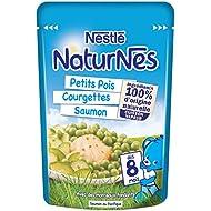 Nestlé Bébé Naturnes Petits Pois/Courgettes/Saumon Plat Complet dès 8 Mois Sachet de 190 g
