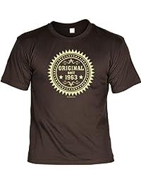T-Shirt als lustiges Geschenk zum Geburtstag - Original seit 1963 - Geburtstagsgeschenk mit Jahrgang - Braun