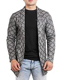 DELHITRADERSS® Men's Cotton Regular Fit Long Cardigan Full Sleeve Shrug(BLK/Gry)(Free Size)