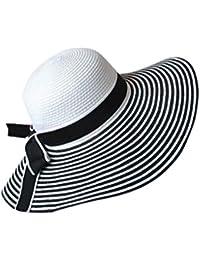 3796ff19a6579 Providethebest Negro Blanco de la Raya del Bowknot de Las Mujeres Chica del  Verano del Borde Ancho del Sombrero…