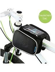 """Sacoche de Cadre pour Vélo, WOTOW Top Tube de Sac Deux Pochettes Avant Selle Cadre pour VTT, Route, Cyclisme, Randonnée en Vélo etc, pour 5,7"""" Téléphone Portable"""
