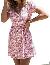 fe4f1ffe3a5 Vestido Mujer Verano STRIR Vestido sin Mangas con Hombros Descubiertos  Imprimen Botones Vestido de Princesa Vestidos