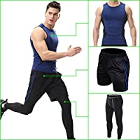 Mens Fitness Athletic Quick Dry 3 Pieces Clothing Set Sports Vest Shorts and Tights Sports pants for Gym Running Bicycle Cycling