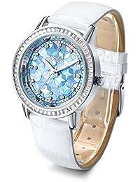 Barbie Reloj con Diamantes de Materia Piel de Serie princesa Reloj de Cuarzo para Mujer W50478L (Blanco)