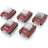 BIQU StepStick DRV8825controlador de motor paso a paso 4Capa módulo con disipador de calor (pines de cabecera soldado) para 3d impresora rampas de prerap A4988(Pack de 5unidades)