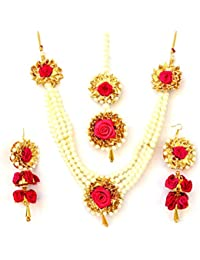Floret Jewellery Party Wear Magenta Flower Gota Patti Jewellery Set With Earrings & Maang Tika For Women And Girls