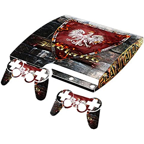 Escudo Collection 3, personalizado consola PS3 Fat Slim Full Body Wrap Faceplates Decal Vinyl piel adhesivo pegatina skin protector Blason Pologne PS3 Slim