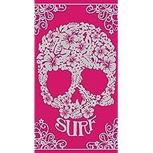 Toalla de playa de calavera Surf rosa Jacquard 90cm x 170cm