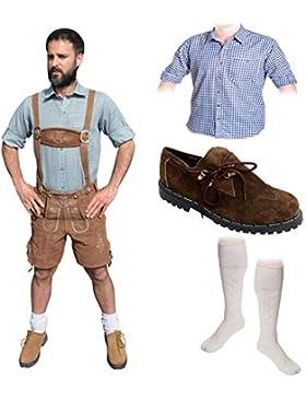 Herren Trachten Set A 5-teilig Trachten Lederhose * kurz * HELLBRAUN 46-60 Trachtenhemd Schuhe Socken Oktoberfest