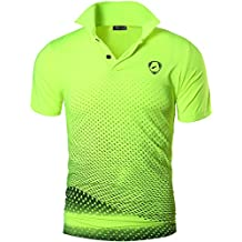 jeansian Hombres Verano Deportes Wicking Transpirable Quick Dry Short Sleeve Polo T-Shirts Tops Running