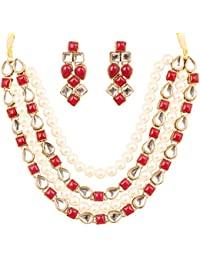 Touchstone Indian Mughal Kundan Polki Jadau Work Faux Ruby Pearls Alloy Metal Designer Jewelry Necklace Set In...