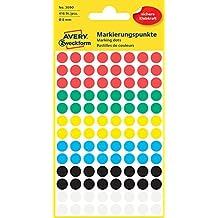 AVERY Zweckform 3090 Markierungspunkte (416 Stück, Ø 8 mm, 4 Blatt) farbig sortiert