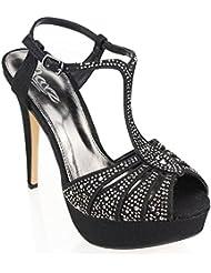 Aarz señoras de las mujeres de la tarde de la Plataforma del Partido boda del alto talón de Diamante Nupcial Prom sandalia tamaño de los zapatos (Negro, Plata, Estaño)