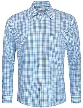 Almsach Trachtenhemd Engelbert Regular Fit Mehrfarbig in Türkis, Blau und Hellgrün Inklusive Volksfestfinder