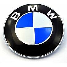 Emblema con logotipo, 82 mm, con efecto de fibra de carbono, blanco y azul