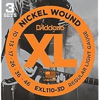 D'Addario EXL110-3D Set di Corde Rivestite in Nickel per Chitarra Elettrica, Regular Light, 10-46, Confezione da 3