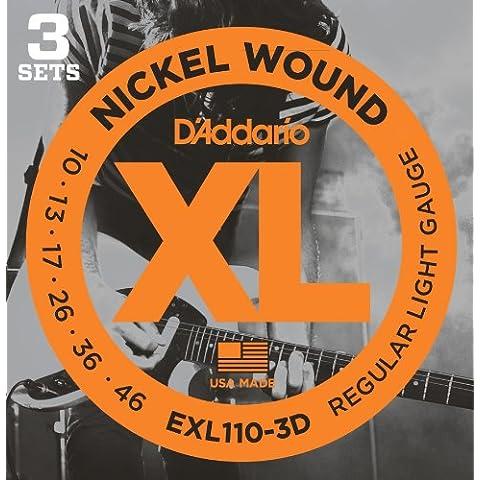 D'Addario EXL110-3D - Juego de cuerdas para guitarra eléctrica de acero y níquel, .010-0.046